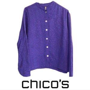 Chico's 1 purple silk top shirt jacket Small 8